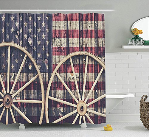Nyngei Western Decor Duschvorhang Set Große Antike Wagen Wagen Räder mit Amerikanischer Flagge in Retro Vintage Farben New World Print Bad-Accessoires 180x Beige Sepia (Antik Holz Wagen)