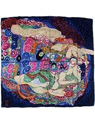 """Nella-Mode bezauberndes SEIDENTUCH Seidenschal nach Gustav Klimt """"Die Jungfrau"""" (blau) Schal Tuch 100% Seide Kunstdruck Jugendstil Malerei 85x85 cm"""