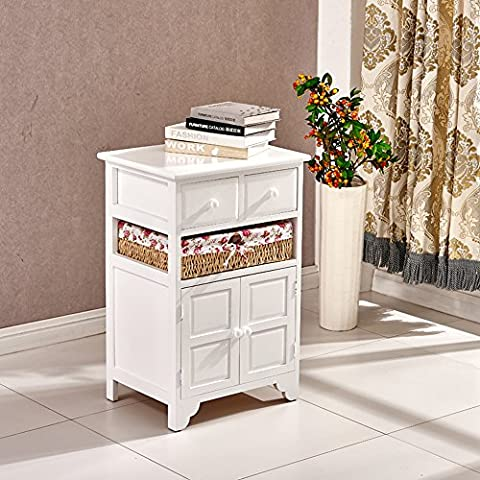 Tason Shabby Chic Rattan Chest of Drawers, White Wooden Storage Cabinet Sideboard Cupboard with Vintage Design and Floral Decor (2 Drawers 1 Basket 2
