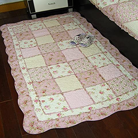 Ustide Rustic Floral Shabby Rose Rug Pink Cotton Quilted Area