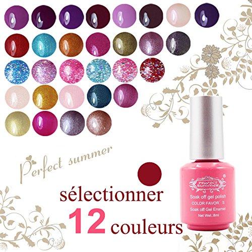 Perfect Summer Sélectionner 12 Vernis à Ongles Semi-Permanent UV LED Gel Nail Polish Soak Off French Manucure Kit