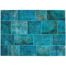 Hatice: Patchwork Overdyed Alfombra turca azul turquesa Colores 80cm a 400cm (150cm x 200cm / 4' 11'' x 6' 6.7'')