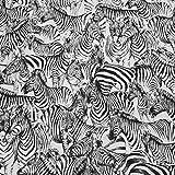 Stoff Meterware Baumwolle Jacquard Zebra weiß schwarz beidseitig zu verwenden Dekostoff