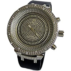 Men's Silver Plated Black CZ Stone Face Rubber Strap HipHop Bling Watch