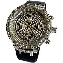Hombres Bañado En Plata Negro circonita Esfera Correa De Goma HipHop Reloj Brillante