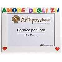 Cornici per foto in legno con la scritta Amore Degli Zii, da appoggiare o appendere, misura 13x18 cm Bianca. Ideale per…