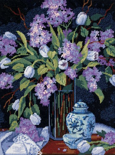 (D20067) - Dimensions Needlepoint Kit - Tulips and Lilacs -