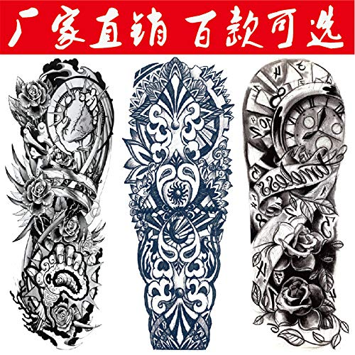 tzxdbh 2pcs Autocollants de Tatouage Bras imperméable Entier Gros Autocollants de Tatouage Bras de Fleur Usure réaliste et Durable 2pcs 2
