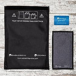 Armadillo Pro-tec RFID Blocage de Signal Sacs Ensemble de Cage de Faraday, 1étui de Protection pour Grands Smartphones et Porte-Clés + 1étui pour Grandes tablettes/iPad + 1Carte RFID.