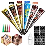 Skymore Temporäre Tattoo Kegel Kit, Tattoo Paste Kegel Conesl, Tattoo Sticker Körperkunst mit 23 Stücke Tattoo Schablone, 6 X Tattoo Kegel, 1, 6 X Tattoo Kegel, 1 X Applicator Fles, 4 X Kunststoffdüse