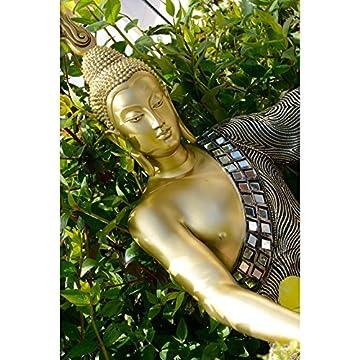Figura de Buda sentado en resina y tela - Color dorado (32x22x48 cm) 4
