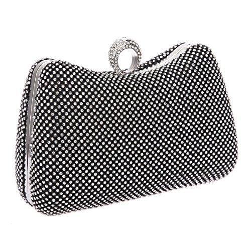 Bonjanvye Bling Ring with Rhinestone Clutch Purse for Women Handbag Black Black