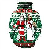 Herren 3D Hoodies Santa Claus und weiße Kleidung Freunde unter Weihnachten Elemente Muster Digitaldruck Kapuzenpullis Liebhaber Hoodies(XXXL,Grün)