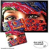 Set: 1 Fußmatte Türmatte (60x40 cm) + 1 Mauspad (23x19 cm) - Frauen, Arabische Augen