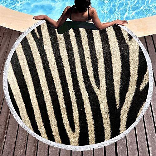 GOLDT1 Tierhaut gedruckt Runde Badetuch mit Quaste Mikrofaser weichen Yoga Pool Picknickdecke Home Teppich, Schlafzimmer Bad Dicke Decke super schnelle Wasseraufnahme 150cm (Shampooer Home-teppich)