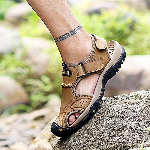 Männer Leder Sport Sandalen Mode Wasser Schuhe Sommer weichen Rindsleder Schuhe Schuhe Khaki