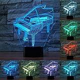 Instrumento de música Retro Piano 3D Luces Nocturnas 7 Colores Bombilla Músico Niño Regalo Dormitorio Decoración Elegante LED RGB Lámpara