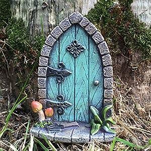 Prezents.com Miniatur Pixie, Elf, Feentür - Baum Garten Dekoration - lustige lustige Geschenkidee - Höhe 9 cm