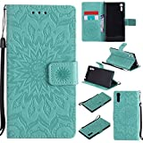 For Sony Xperia XZ Case [Green],Cozy Hut [Wallet Case] Magnetic Flip Book Style Cover Case ,High Quality Classic New design Sunflower Pattern Design Premium PU Leather Folding Wallet Case With [Lanyard Strap] and [Credit Card Slots] Stand Function Folio Protective Holder Perfect Fit For Sony Xperia XZ 5,2 inch - green