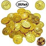 BESTZY 100Pcs Monete di Oro del Pirata Plastica Giocattolo Bambino Halloween Monete di Tesoro