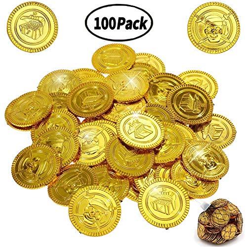 BESTZY 100 Goldmünzen/Piraten Gold - Münzen/Piraten Schatz/Seeräuber/Schatzsuche /Kindergeburtstag/Party/Scherzartikel Piratenparty Mitbringsel Schatzsuche Kindergeburtstag Mitgebsel Goldmünzen - Gold Münze