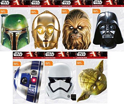 Star Wars Maskenpack mit 7 Masken / 1x Boba Fett , 1x C-3PO , 1x Chewbacca , 1x Darth Vader , 1x R2-D2 , 1x Stormtrooper , 1x Yoda ( (C3po Maske)