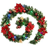 WeRChristmas Pre-Lit Decorated Garland Illuminated with 40 Multi-Colour LED Lights, 9 feet - Red/Gold