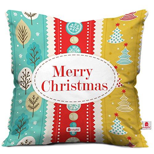 indibni Christmas Gifts Merry Christmas Zitat Bunt Streifen Design basiert auf Festival Thema Multicolor 45,7x 45,7cm Kissenbezug, Danksagung-Xmas-Halloween