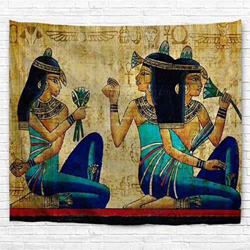 IMEI Tapiz egipcio africano para colgar en la pared, colcha de totem de ojo africano, manta de playa mandala manta arte tapices para dormitorio, poliéster, Old Egypt Women, 90 X 60 Inch