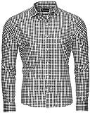 Reslad Schwarz Weiß Kariertes Hemd Herren Slim Fit Bügelfreies Freizeithemd Oktoberfest Trachtenhemd RS-7007 Schwarz 2XL