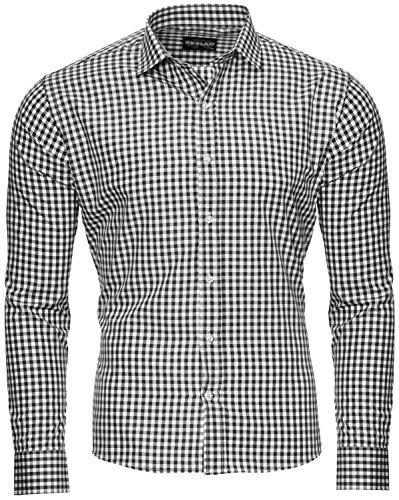 Reslad Schwarzes Hemd Herren Slim Fit Kariert Karo Hemden für Männer Businesshemd Oktoberfest Trachten Hemd RS-7007 Schwarz M