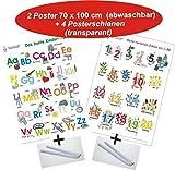 Das bunte Kinder-ABC + Meine tierischen Zahlen von 1-20 + Posterschienen: 2 Lernposter, gerollt, abwaschbar + UV-Lack beschichtet + 4 Posterschienen