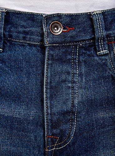 oodji Ultra Herren Jeansshorts mit Used-Effekten Blau (7800W)