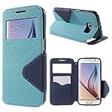   Handyschutz in Perfektion   Ultra Slim Premium Flip Cover Tasche Schutz Hülle mit Silikon Innen Schale Original Roar Fancy Case Für Samsung Galaxy S6 Edge Plus Baby Blau