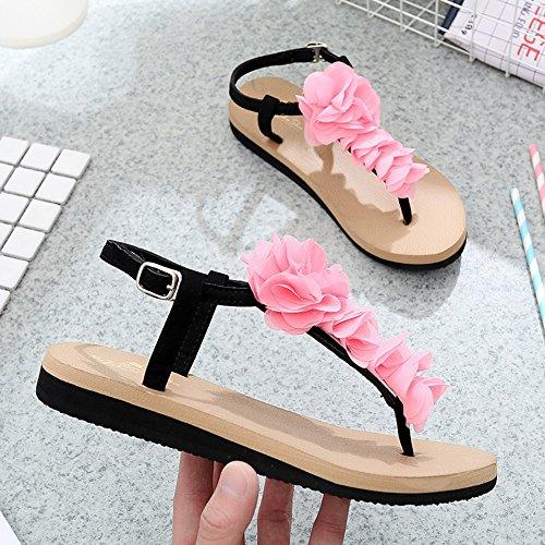 Pente avec sandales Sandales plates glissantes féminines Chaussures étudiantes Chaussures décontractées pendant 18 à 40 ans ( Couleur : 1004 , taille : 35 ) 1002