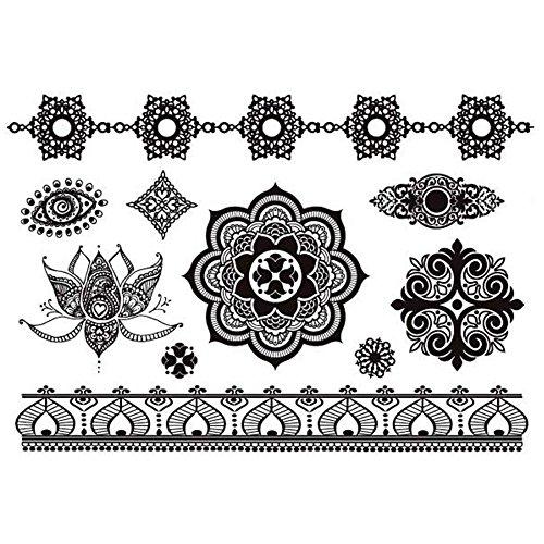 COKOHAPPY Schwarz Lace Spitze Temporäre Tattoo Auge Lotusblatt Mandala Indian Totem - Für Make-up Halloween Schritt Schritt Augen