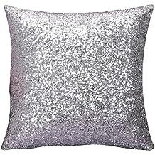zarup Almohadilla de tiro de la caja Cafe Decoración del hogar color sólido Glitter Lentejuelas Cubiertas del amortiguador (SL)