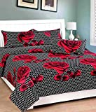 Fresh From Loom 150 TC Cotton Double Bedsheet with 2 Pillow Covers, Black