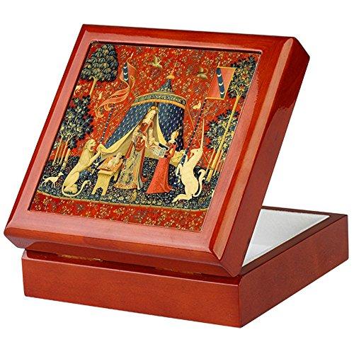 CafePress-Lady und das Einhorn Mittelalter Szenerie Art keepsak-Keepsake Box, fertig Hartholz Jewelry Box, Samt Gefüttert Memento Box mahagoni -