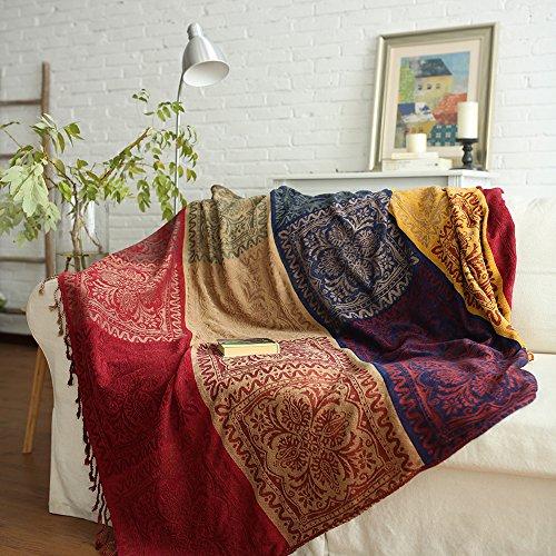 ele ELEOPTION Chenille Überwurf Decke, Jacquard Quasten Überwurf Decke Sofa Stuhl Bezug Dekorative für Bett Couch, Sessel, Folk Tribal Muster, rot, 220 x 250 cm