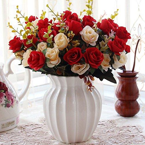 Flinfeays fiori artificiali vaso di ceramica fai da te regalo di festa di nozze, cucina, casa, scrivania, decorazione, fiore, disposizione, creativo, finto, fiore, rosso-13