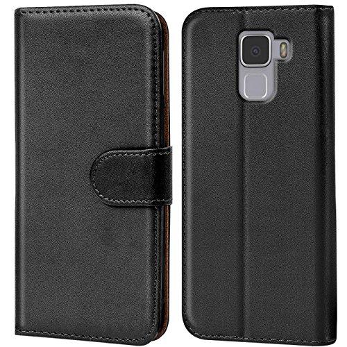 Verco Honor 7 Hülle, Handyhülle für Huawei Honor 7 Premium Tasche PU Leder Flip Case Brieftasche - Schwarz