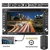 Autoradio Android 6.0 Catuo DVD Player mit GPS Navigation(aktuelle Europa-Karten mit Radarwarnungen) Auto Radio Bluetooth 2 DIN 6.2 Zoll Touch Screen unterstützt FM / AM / RDS Radio Stereo Receiver Head Unit + OBD 2WiFi+ Mirror Link + Freisprechfunktion