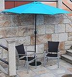 IMC Sonnenschirm türkis mit Kurbel - halbrund