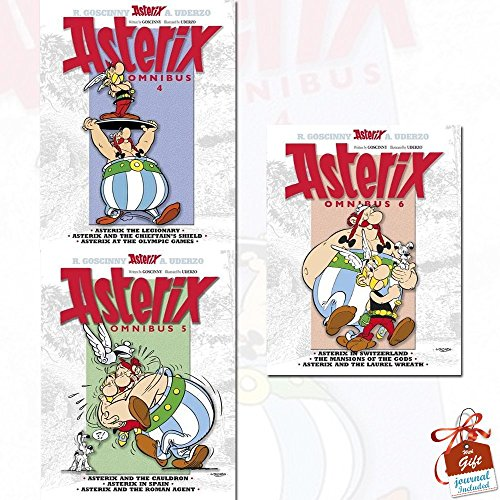 Omnibus Asterix Series 2 : Vol 4 - 6 , 9 Titles in 3 Books Collection With Gift Journal (Omnibus 4: Asterix the Legionary, Asterix and the Chieftain's Shield, Asterix at the Olympic Games, Omnibus 5: Asterix and the Cauldron, Asterix in Spain, Asterix and the Roman Agent, Omnibus 6: Asterix in Switzerland, The Mansions of the Gods, Asterix & the Laurel Wreath)