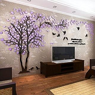 DIY 3D Riesiger Baum Paar Wandtattoos Wandaufkleber Kristall Acryl Malen  Wanddeko Wandkunst (L, Lila