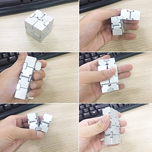 LilBit Fidget Hand Finger Infinity Cube Giochi Giocattolo, Lega di Alluminio, Stress Relief Toys per Anxiety Autism ADD ADHD EDC Bambini / Adulto Argento - 6
