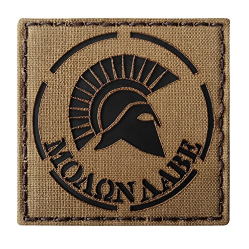 Coyote Brown Tan Infrared IR Spartan Molon Labe DEVGRU 3x3 IFF Tactical Morale Touch Fastener Patch Seal Team 2 Patch