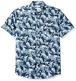 Amazon Essentials - Camicia a maniche corte da uomo, con stampa, vestibilità regolare, Palm Leaf, US L (EU L)