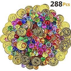 Akrcheft 288 Stück Goldmünzen des Piratenschatz Spielzeugs und Piraten Schmucksteine Set, Schätze für die Piraten-Partys (144 Münzen + 144 Strasssteine)